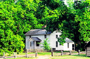 The historic farmhouse at the Duke Homestead and Tobacco Museum dates from 1852 Durham, N Carolina, USA
