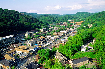 The Great Smoky Mountains resort town of Gatlinburg Tennessee, USA