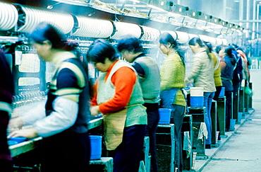 Women at work in a silk factory, Suzhou, Kiangsu province, China