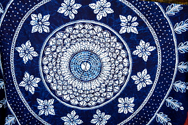 Colourful blue and white tie dyed tablecloth, Baisha, Yunnan Province, China