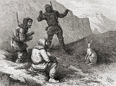 Lieutenant Payer drawing an Arctic Hare during the second German North Polar Expedition in 1869 Julius Johannes Ludovicus Ritter von Payer, 1841 to 1915 Austro-Hungarian arctic explorer and Arctic landscape artist From El Mundo en la Mano published 1875