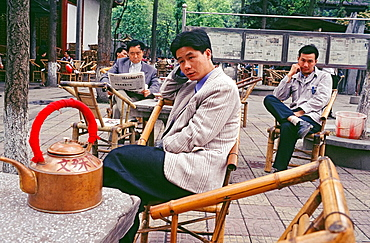 Chinese men at a tea house, Chengdu, Sichuan province, China