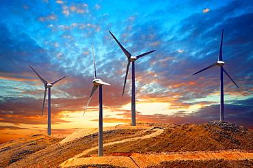Wind farm on Kefalonia, Ionian Islands, Greece