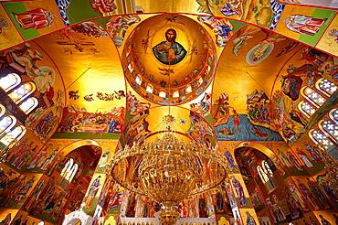 The Byzantine style frescos of the new Orthodox church of Omala Kefalonia, Ionian Islands, Greece