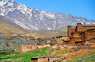 Berber village in the Atlas mountains, South, Ouarzazate region, Morocco.