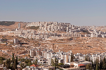 Hilltop jewish settlement Har Homa, viewed from Bethlehem, West Bank, Palestine