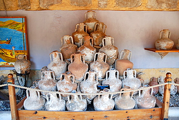 Pile of ancient Knidian amphoras from 3rd century B C, Bodrum Castle in Turkey