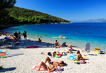 Beach in Valun village on Cres Island, Croatia