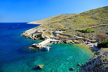 Little port in Koromacna Bay near Belej village on Cres Island, Croatia