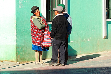 People are standing on the street in Uyuni, Bolivia