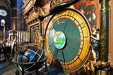Astronomical clock, Notre-Dame gothic cathedral, 14th century, Strasbourg, Alsace, France