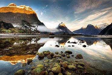 Mitre peak, winter dawn, Milford Sound, Fiordland National Park.
