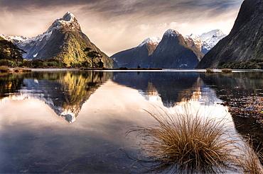 Mitre peak reflection, winter dawn, Milford Sound, Fiordland National Park.