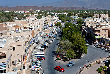 The city center of Nizwa from an elevated position, Oman