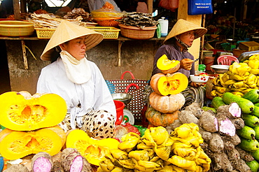 vegetable vendors in the market on Phu Quoc Island in Vietnam
