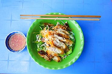 Vietnamese bun cha grilled pork balls with noodles on Phu Quoc Island in Vietnam