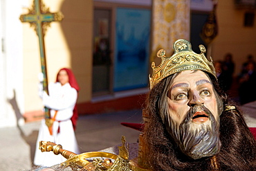 Mask of figuraand penitent Holy Week Easter Sunday Puente Genil Cordoba province Spain