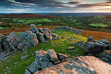 Sunrise from Hound Tor Dartmoor National Park Devon South West England Europe