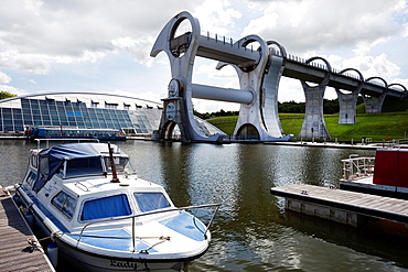 View of the British Waterways Falkirk Wheel, on the Union Canal, near Falkirk Scotland, UK, Great Britain.