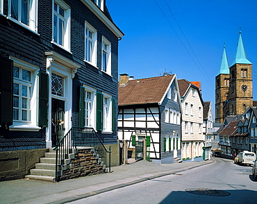 D-Schwelm, Ennepe-Ruhr district, Ruhr area, Bergisches Land, Westphalia, North Rhine-Westphalia, NRW, old town, residential buildings, half-timbered house, slated facade, outside staircase, Christuskirche, Christus Church, evangelic church, secondary road. Germany, Schwelm, Ennepe-Ruhr district, Ruhr area, Bergisches Land, Westphalia, North Rhine-Westphalia, NRW, old town, residential buildings, half-timbered house, slated facade, outside staircase, Christuskirche, Christus Church, evangelic church, secondary road