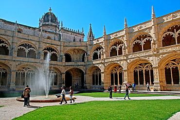cloister, Jeronimos Monastery, Belem, Lisbon, Portugal