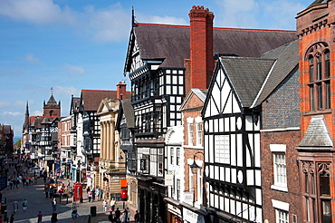 Chester city skyline, looking down Eastgate street Cheshire UK