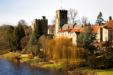 Marmion Tower and St Nicholas Church West Tanfield North Yorkshire England