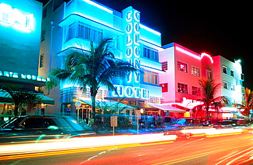 Colony Hotel at night, The Art Deco District around Ocean Drive and Washington Ave, Miami Beach, Florida, USA