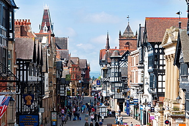 Chester city centre, looking down Eastgate street Cheshire UK