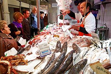 Fish shop, Mercado del Sur, Gijon, Asturias, Spain.