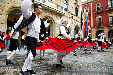 Folk dance, Asturian folklore, Plaza mayor, Gijon, Asturias Spain.