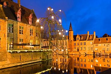 View from Rozenhoedkaai, Bruges, Brugge, West Flanders, Flemish Region, Belgium, Winter.