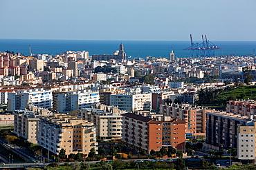 View over city from dam on Embalse del Limonero, Malaga, Malaga province, Costa del Sol, Andalusia, Spain, Europe