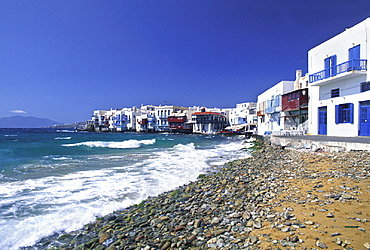 Alefkandra, beach, city, coast, Greece, Europe, homes, houses, little, Mykonos town, sea, seashore, small, stones, s. Alefkandra, beach, city, coast, Greece, Europe, homes, houses, little, Mykonos town, sea, seashore, small, stones, s