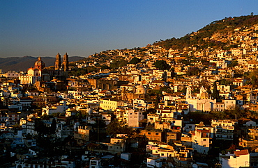 city, dusk, Guerrero, hill, Mexico, Central America, America, mood, overview, Taxco, town, twilight. city, dusk, Guerrero, hill, Mexico, Central America, America, mood, overview, Taxco, town, twilight