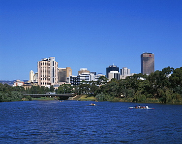 Adelaide, Australia, boats, city, river, River Torrens, skyline, South Australia, town, waters. Adelaide, Australia, boats, city, river, River Torrens, skyline, South Australia, town, waters