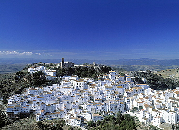 Andalusia, Casares, city, hill, overview, province Malaga, Spain, Europe, town, village. Andalusia, Casares, city, hill, overview, province Malaga, Spain, Europe, town, village