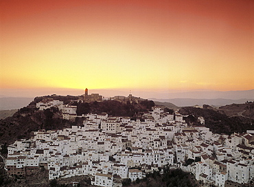 Andalusia, Casares, city, dusk, hill, mood, overview, province Malaga, Spain, Europe, town, twilight, village. Andalusia, Casares, city, dusk, hill, mood, overview, province Malaga, Spain, Europe, town, twilight, village