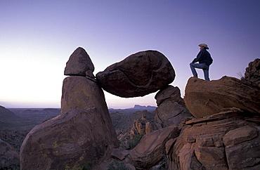 Big Bend, national park, Grapevine Hills, Texas, Window, USA, America, United States, cowboy, man, rocks, North Amer. Big Bend, national park, Grapevine Hills, Texas, Window, USA, America, United States, cowboy, man, rocks, North America