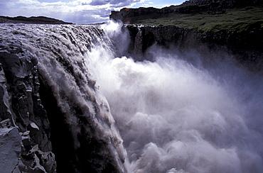 Iceland, Europe, Arctic, Jokulsargliufur, national park, Vertical, Waterfall Dettifoss, landscape. Iceland, Europe, Arctic, Jokulsargliufur, national park, Vertical, Waterfall Dettifoss, landscape