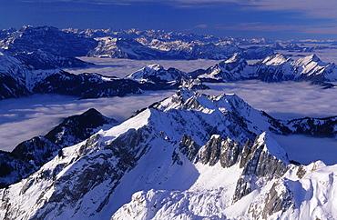 Alpine, Appenzell, Blue, Blue sky, Broadness, sea of fog, Fog., View, from Santis, Morning light, Mountain, Mountain. Alpine, Appenzell, Blue, Blue sky, Broadness, sea of fog, Fog., View, from Santis, Morning light, Mountain, Mountain