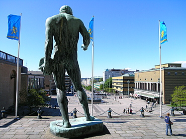 Avenyn street, bronze sculpture, city, figure, Gotaplatsen, Gothenburg, Sweden, Europe, town. Avenyn street, bronze sculpture, city, figure, Gotaplatsen, Gothenburg, Sweden, Europe, town