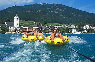 tube riding, rubber dinghy, life raft, Boat, tire, fun, joke, aquatic sports, water sports, water, lake, Wolfangsee, s. tube riding, rubber dinghy, life raft, Boat, tire, fun, joke, aquatic sports, water sports, water, lake, Wolfangsee, s