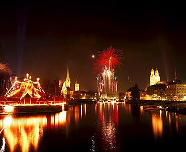 New Year Eves, fireworks, town, city, Zurich, at night, night, Limmat, Bauschanzli, Switzerland, Europe, . New Year Eves, fireworks, town, city, Zurich, at night, night, Limmat, Bauschanzli, Switzerland, Europe,