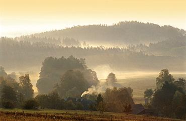 Czech Republic, Southern Bohemia, Sunrise, Over, Misty, Landscape, Bohemia, Calm, Calmness, Color, Colour, Czech Repub. Czech Republic, Southern Bohemia, Sunrise, Over, Misty, Landscape, Bohemia, Calm, Calmness, Color, Colour, Czech Repub