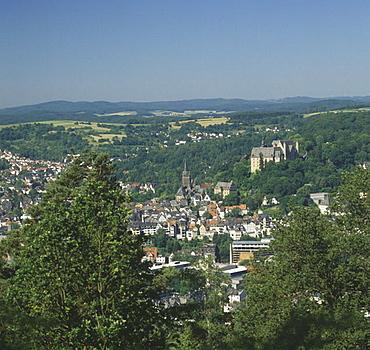 Marburg, Marburg an der Lahn, Hesse, town, city, university, castle, near 1300, wood, height back, Hunsruck, telephoto. Marburg, Marburg an der Lahn, Hesse, town, city, university, castle, near 1300, wood, height back, Hunsruck, telephoto