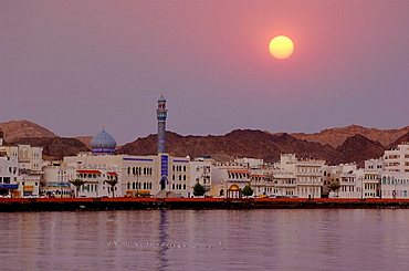 Corniche, mosque, dome, minaret, town, city, Old Town, At night, night, Muttrah, courage yard, Maskat, architecture, M. Corniche, mosque, dome, minaret, town, city, Old Town, At night, night, Muttrah, courage yard, Maskat, architecture, M