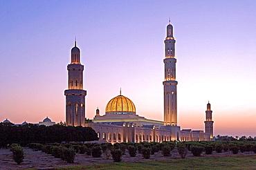 Oman, Arabia, East, Maskat town, city, Muscat, sultan Qaboos mosque, architecture, Islam, religion, mood, dusk, twilig. Oman, Arabia, East, Maskat town, city, Muscat, sultan Qaboos mosque, architecture, Islam, religion, mood, dusk, twilig