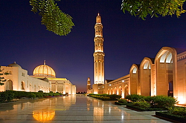 Oman, Arabia, East, Maskat town, city, Muscat, sultan Qaboos mosque, architecture, Islam, religion, at night, night, m. Oman, Arabia, East, Maskat town, city, Muscat, sultan Qaboos mosque, architecture, Islam, religion, at night, night, m