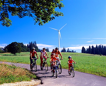 Switzerland, Europe, Mont Soleil, Bernese Jura, Mountains, Canton Berne, Group, Family, Children, Bicycle, Bicycles, B. Switzerland, Europe, Mont Soleil, Bernese Jura, Mountains, Canton Berne, Group, Family, Children, Bicycle, Bicycles, B